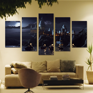 Night View of Harry Potter Castle 5-Panel Canvas Wall Art