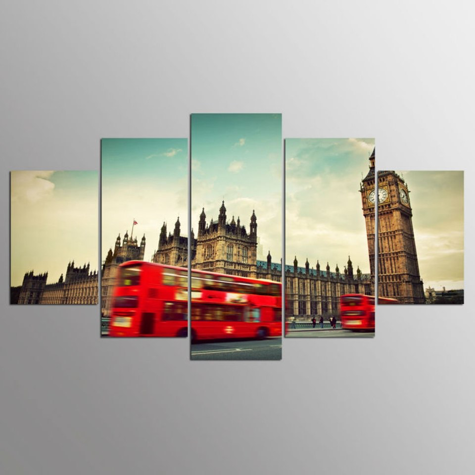 Red Bus with Big Ben Street View 5-Panel Canvas Wall Art