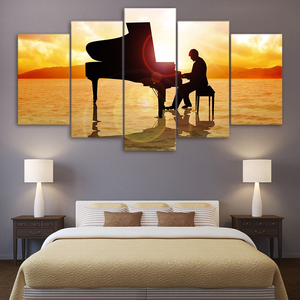 Sunset Piano Music on The Beach 5-Panel Canvas Wall Art