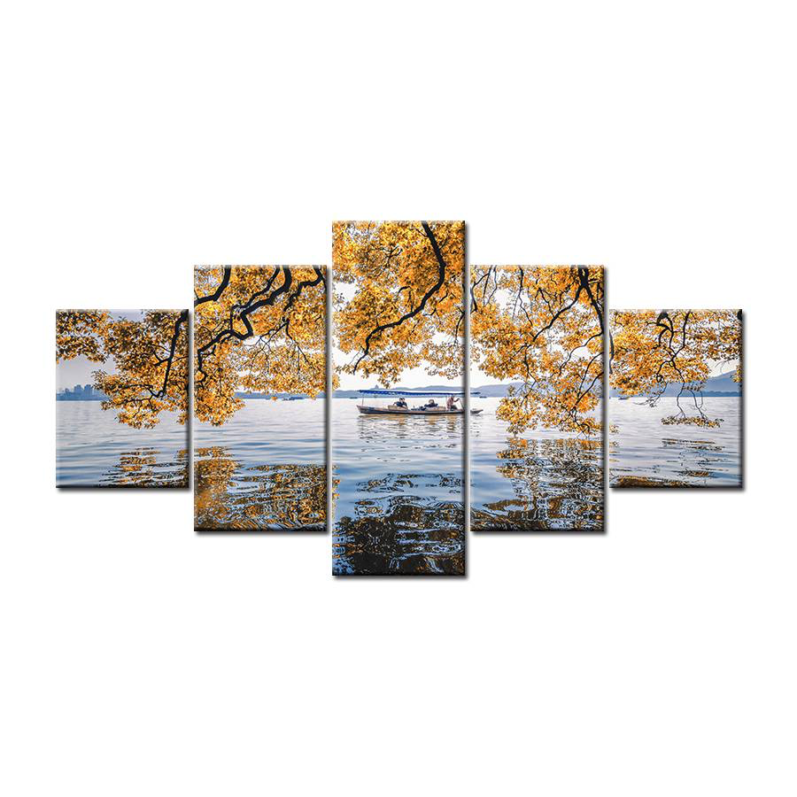 Yellow Leaves Of Autumn Over Lake With Boaters 5-Panel Canvas Wall Art
