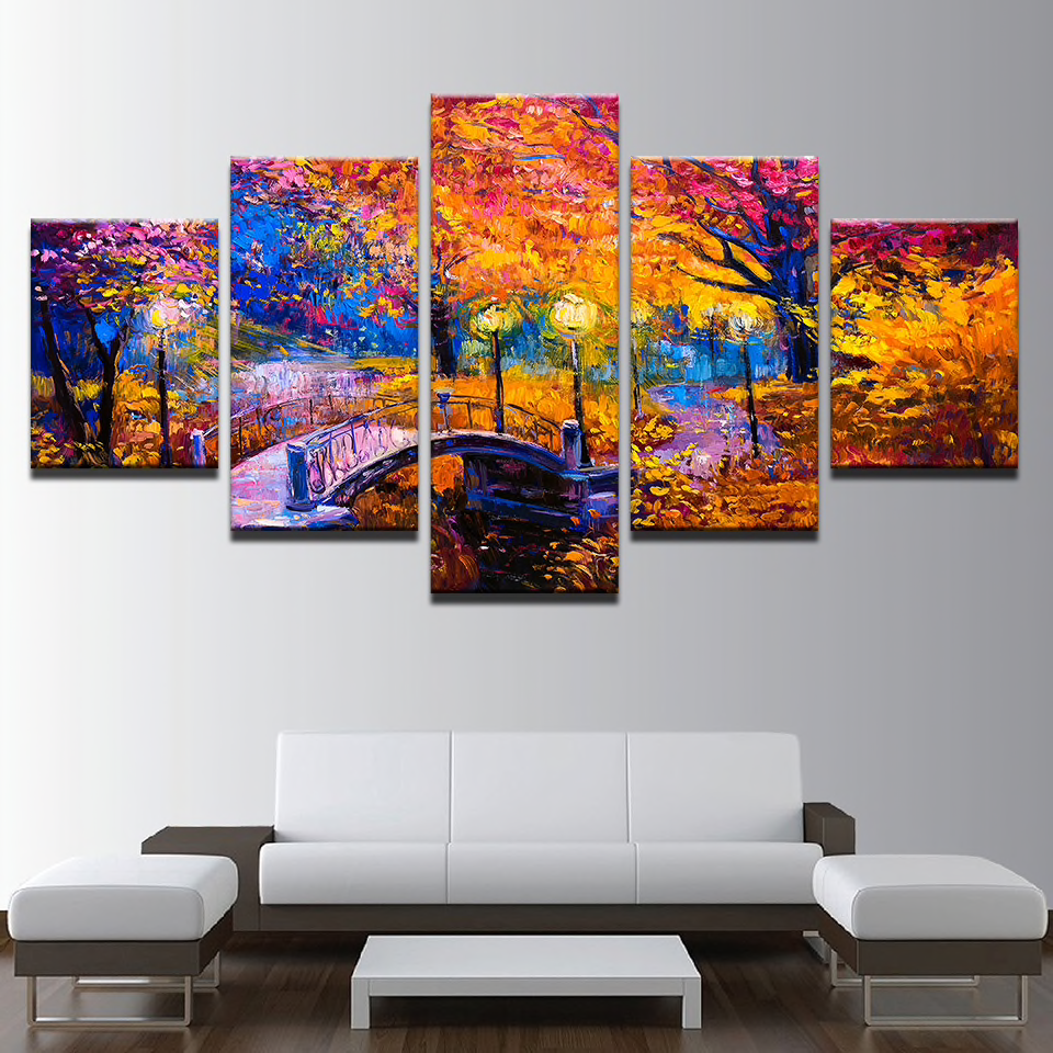 River Bridge Walkway On A Brilliant Autumn Night 5-Panel Canvas Wall Art