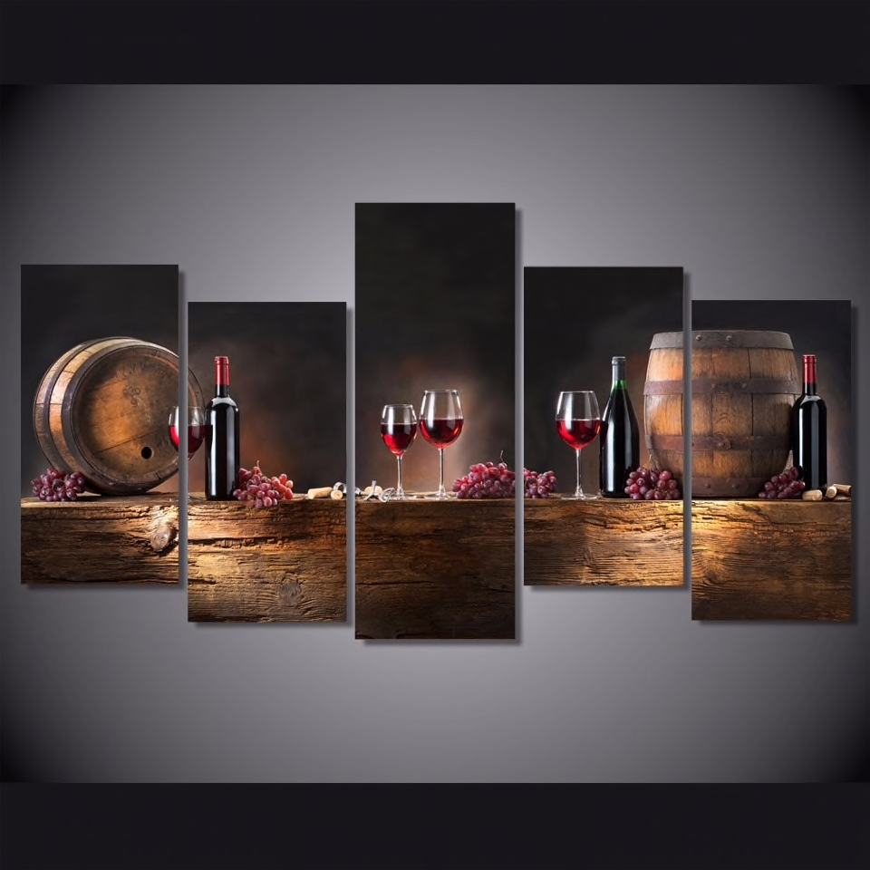 In My Red Wine Cellar – 5-panel Canvas Wall Art