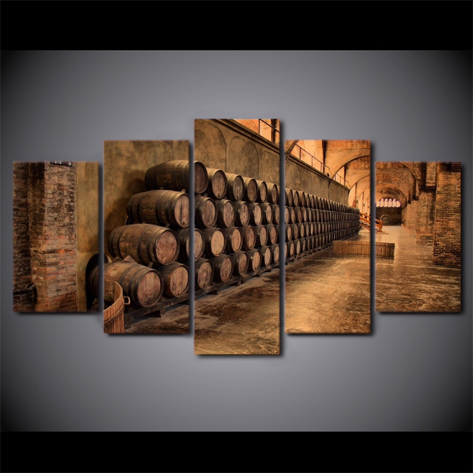 Escape to a Wine Cave – 5-Panel Canvas Wall Art