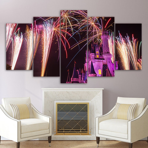 Castle with Fireworks 5-Panel Canvas Wall Art