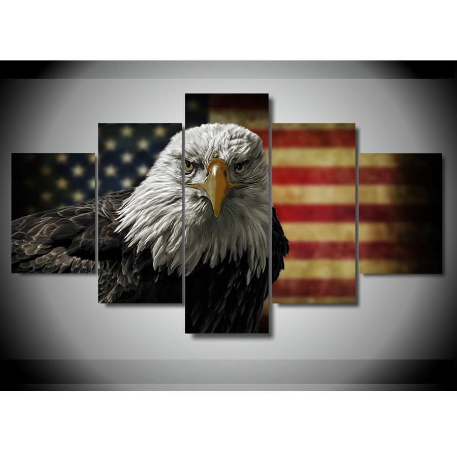 American Flag and Eagle – 5-Panel Canvas Wall Art
