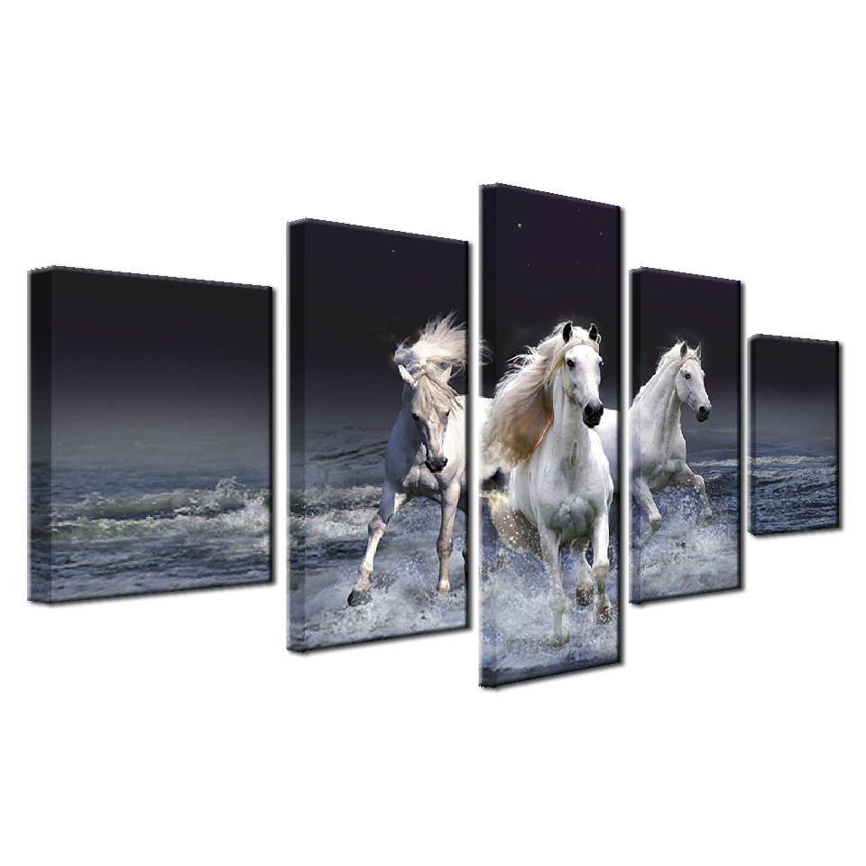 Horses Training On The Beach 5-Panel Canvas Wall Art