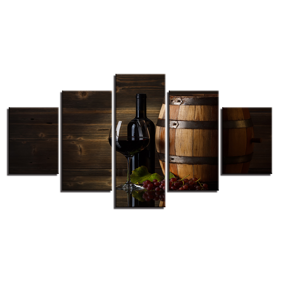 Copy of Red Wine Barrel & Grapes 5-Panel Canvas Wall Art