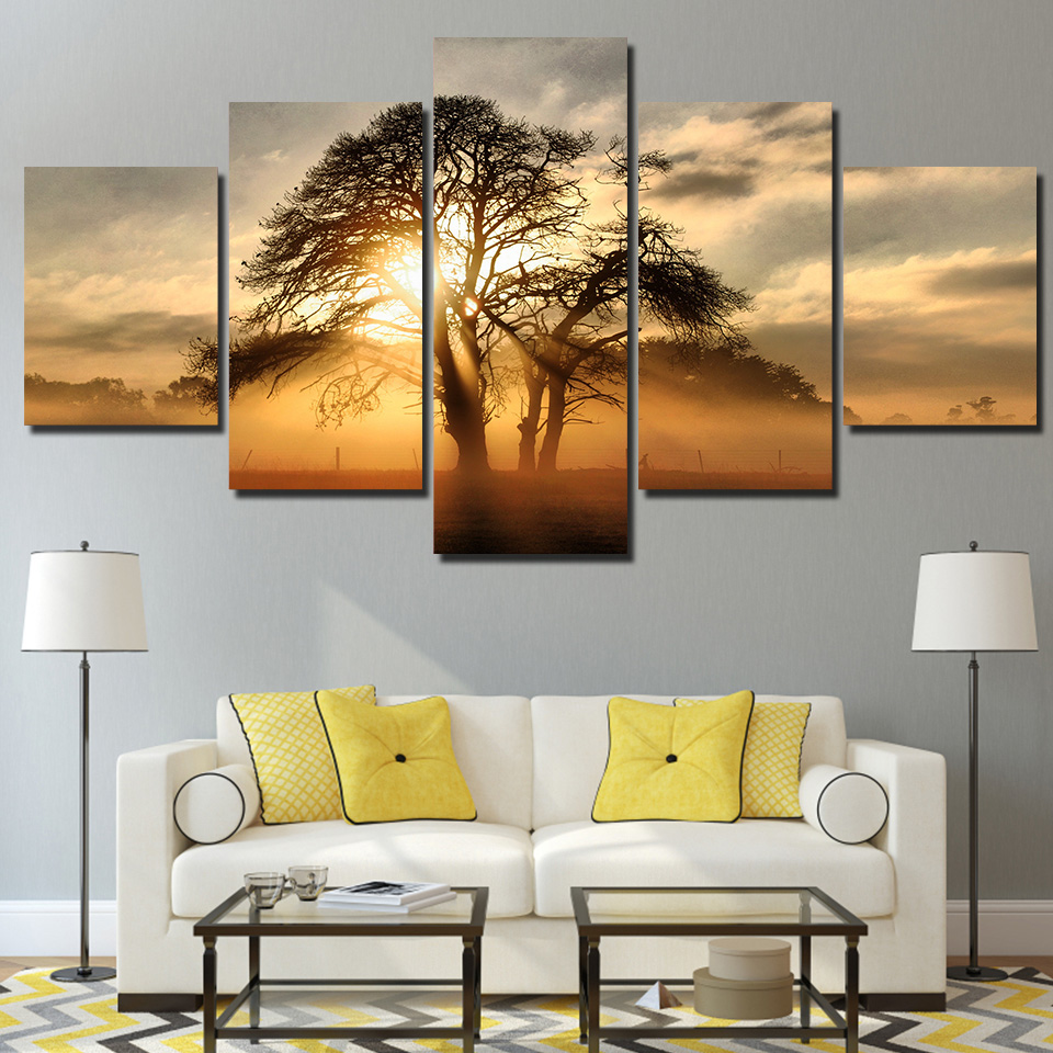 Sunset Through The Trees 5-Panel Canvas Wall Art