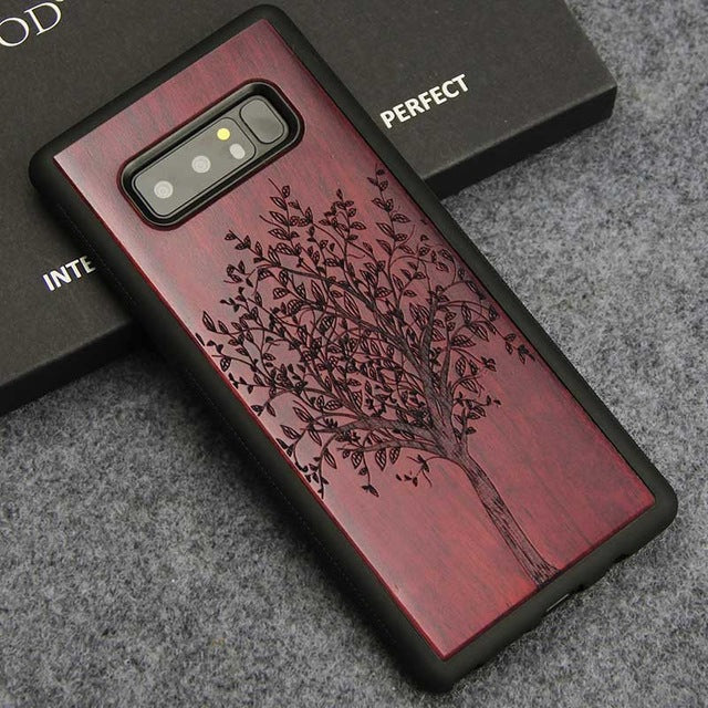 Luxury Wood Carving Phone Case For Samsung Galaxy Note 8 & 9 – Rosewood, Ebony, Maple