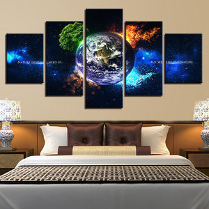 4 Seasons On Earth 5-Panel Canvas Wall Art