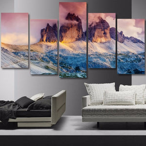 Snow Mountain Austria Dolomites 5-Panel Canvas Wall Art