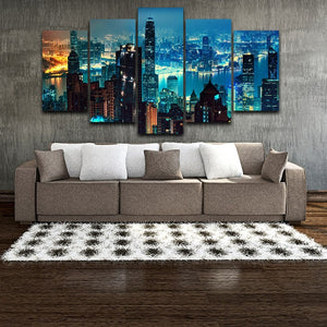 Hong Kong City Buildings at Night 5-Panel Canvas Wall Art