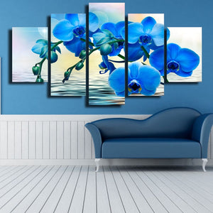 Blue Orchid Flower 5-Panel Canvas Wall Art