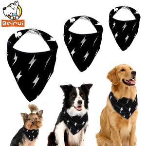 Adjustable Dog Bandana – Black With Lightning – Has Snaps For Adjustment