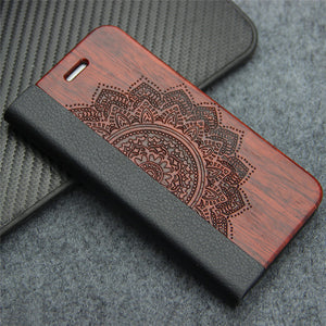 Retro Luxury Leather & Natural Wood Wallet Flip Case for iPhone 7, 7 Plus, 8, 8 Plus, Samsung Galaxy S7 Edge, S8, S9 Plus