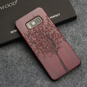 Real Wood, Laser Engraved, Shockproof Back Cover For Samsung S8 & S9 Plus