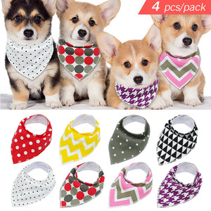 Dog Bandanas – Colorful Collections of 4 Adjustable Scarves For Your Medium-size K9 Friend