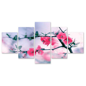Red Flowering Tree Branch 5-Panel Canvas Wall Art
