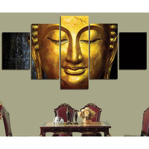 Figure Of Buddha 5-Panel Canvas Wall Art