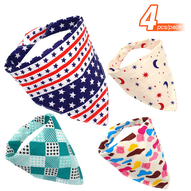 4pcs/lot Dog Bandana Cotton Dog Bandanas Accessories Chihuahua Puppy Collars Scarf Neckerchief Adjustable For Small Dogs Petshop