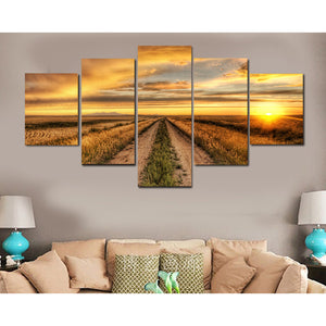 Golden Sunset On The Fields 5+Panel Canvas Wall Art