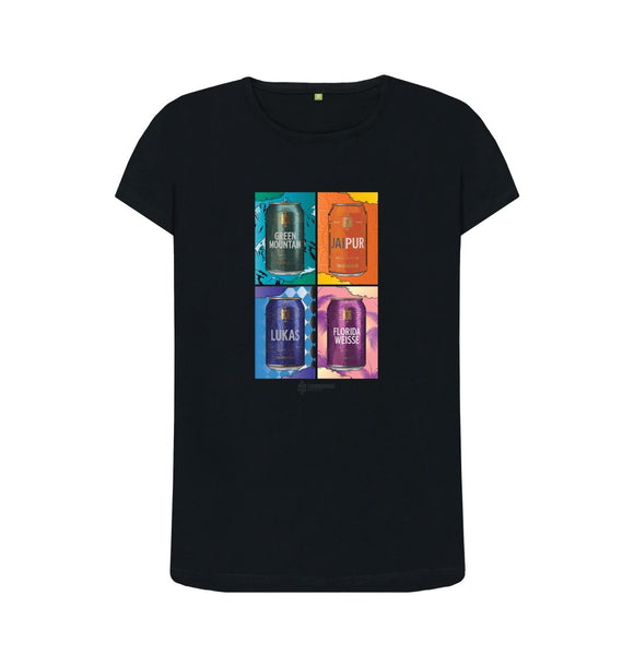 Black Womens Thornbridge Tate Cans T shirt
