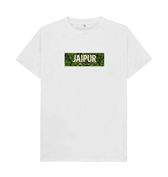 White Jaipur hops boxed logo t shirt