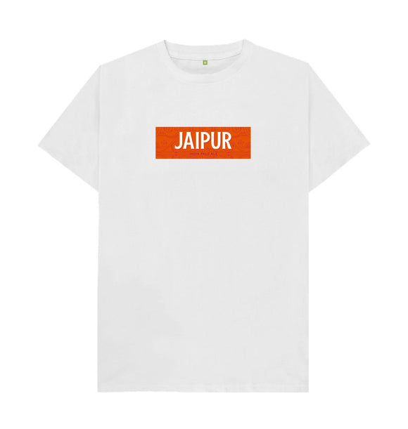 White Jaipur design boxed logo