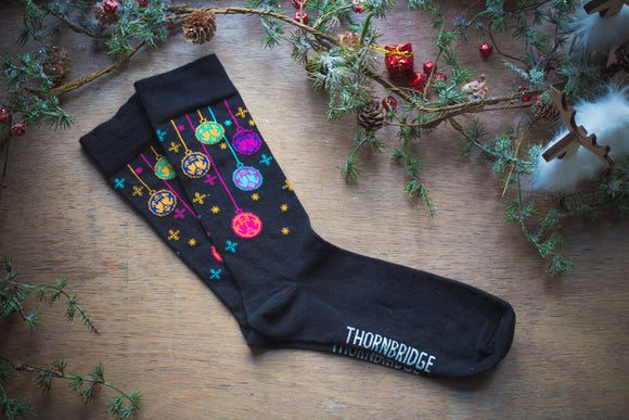 Christmas Socks - Cascading Thornbridge logo baubles