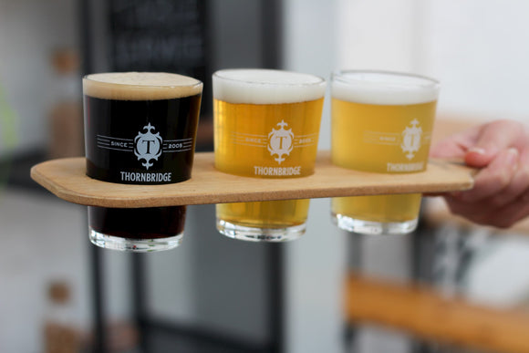 Thornbridge Wooden Beer Flight Paddle and 3 x 1/3rd of a pint glasses