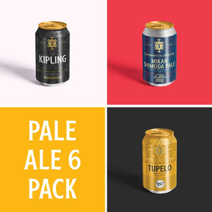 Pale Ale 6 can pack containing kipling, mikan shimoda and Tupelo
