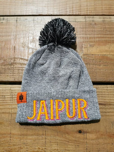 Jaipur Bobble hat grey marl