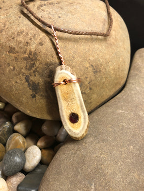 Deer Horn with Indian Ruby Pendant / Cord Necklace