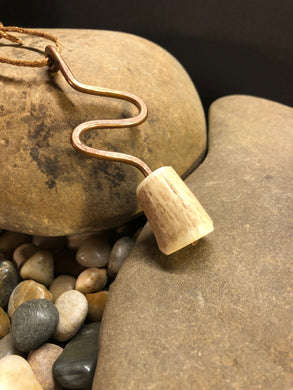 Copper with Deer Horn Pendant /  Cord Necklace