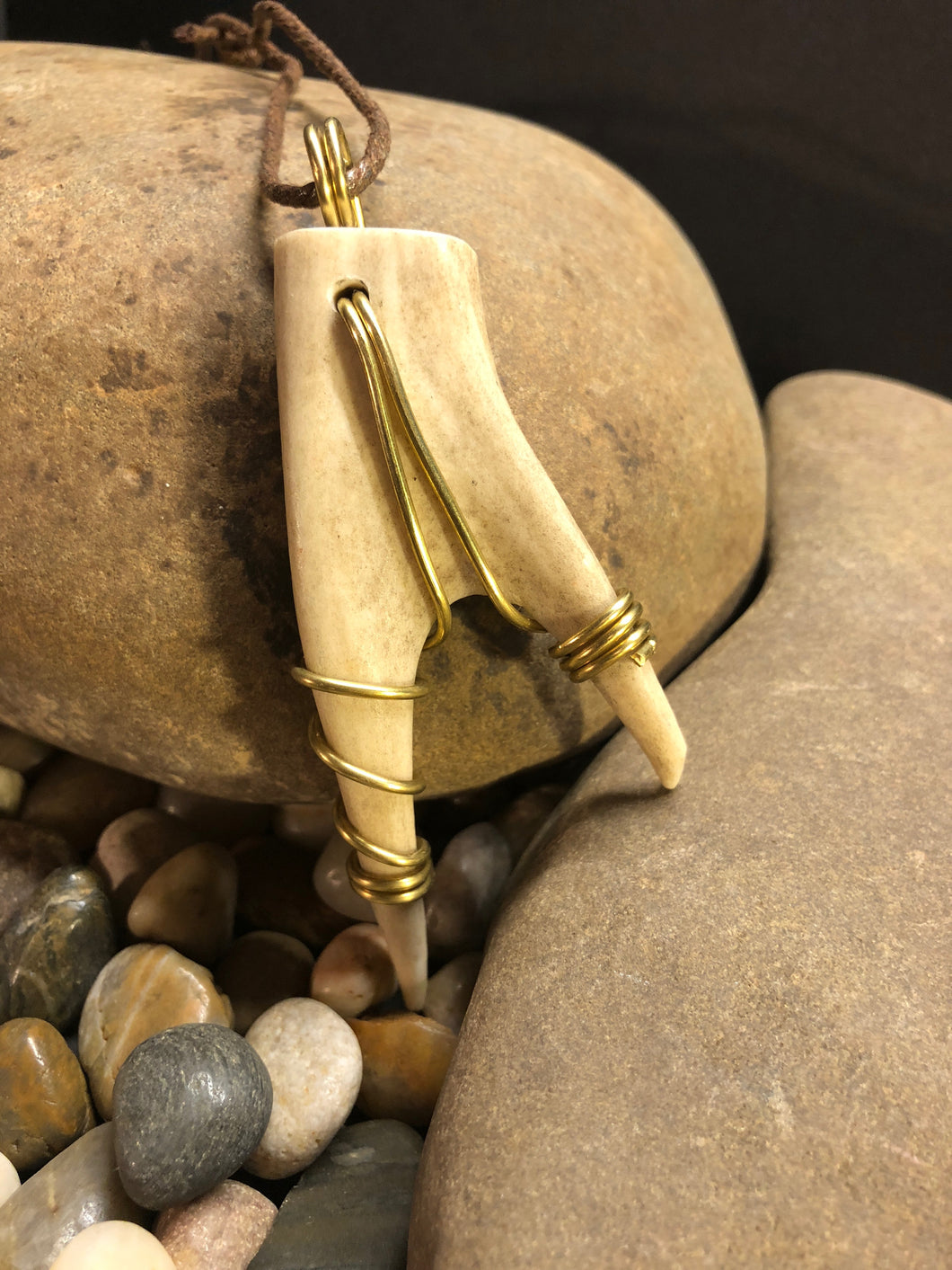 Copper Wrapped Deer Horn with Cord Necklace