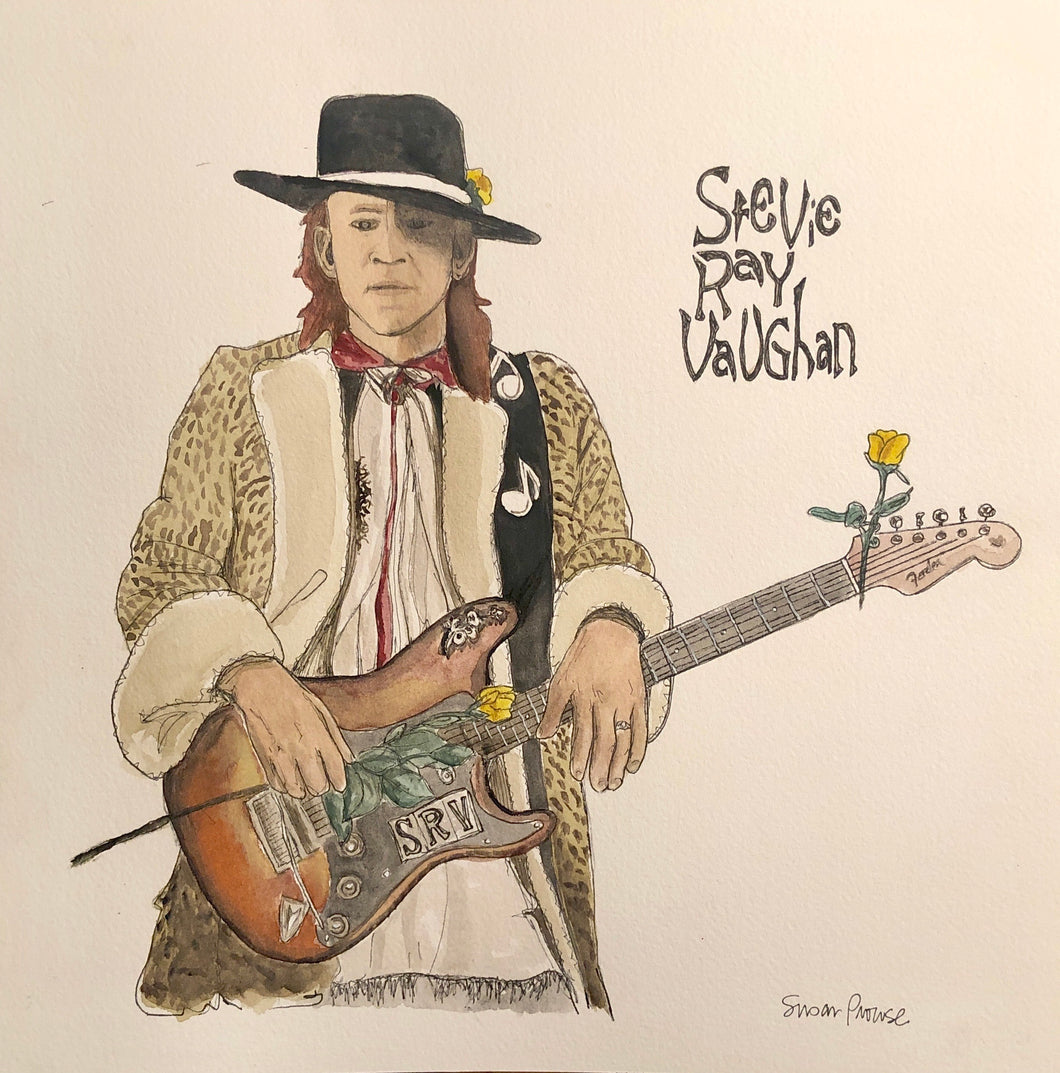 Stevie Ray Vaughn Original Watercolor by Susan Erwin Prowse