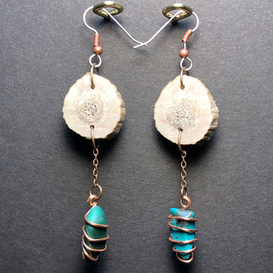 Deer Horn and Stone earrings