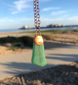 Green Stone with Copper / Copper Necklace