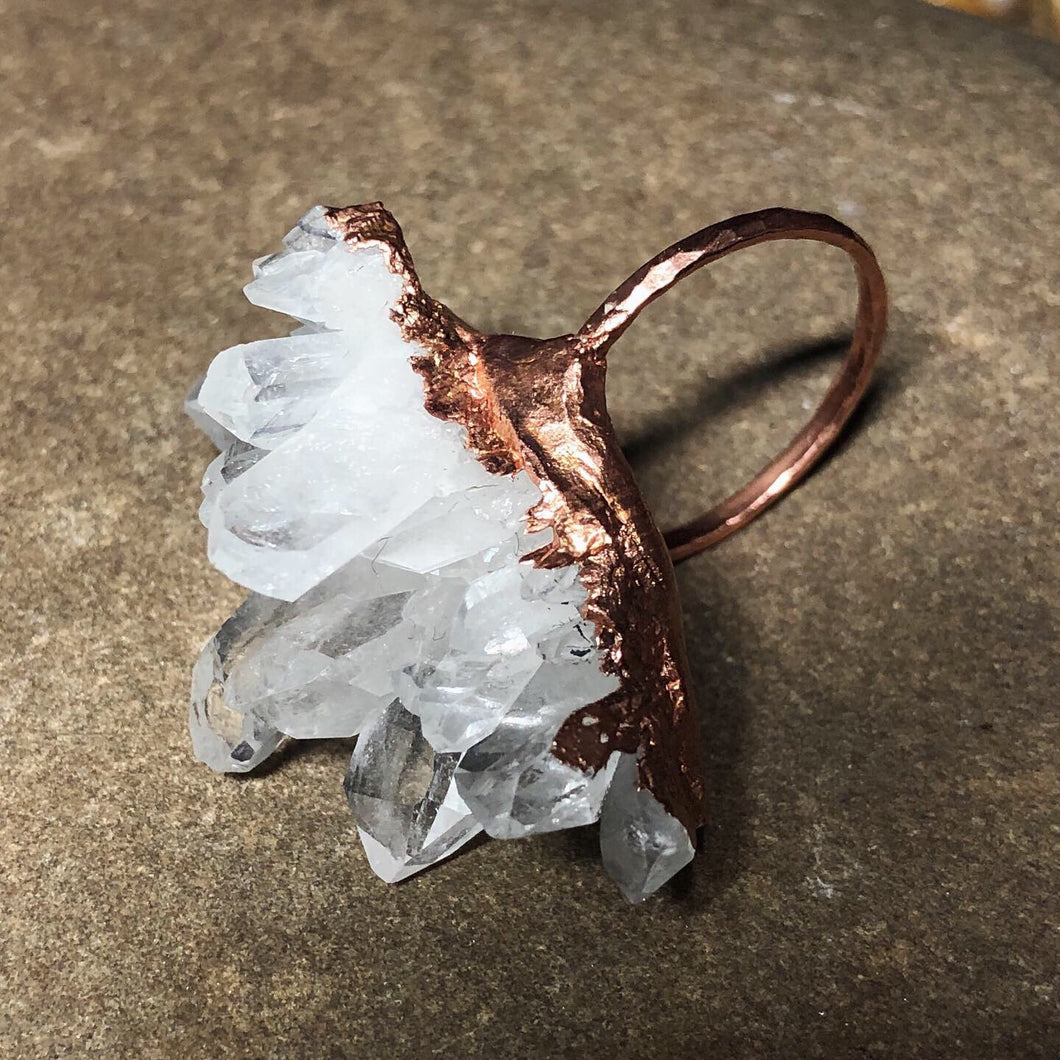 Crystal Cluster on thin Copper Band