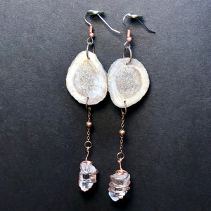 Deer Horn and Crystal earrings