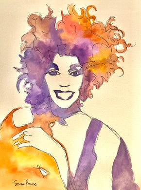 Whitney Houston Original Watercolor by Susan Erwin Prowse