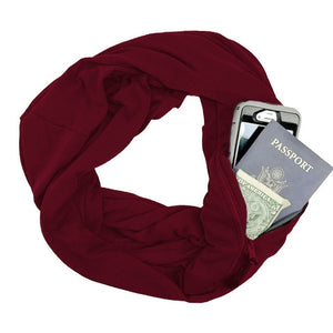 Soft Zipper Pocket Scarf (5 Colors)
