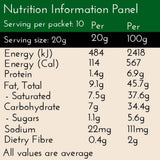 Authentic Chai Latte, nutrition panel