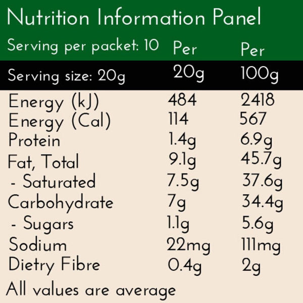 Coconut Chai Latte, nutrition panel, no added sugar, 7g Carbs per serve, 114 Calories per serve. Serving size 20g of powder to be mix with water