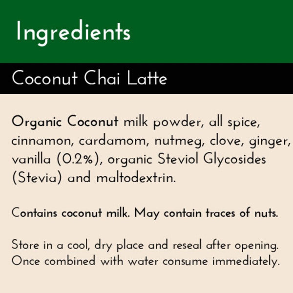 Coconut Chai Latte Ingredients list