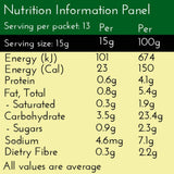Turmeric Chai Latte nutrition panel: Per Serve contain Calories  23, Protein 1g, Carbs 3.5g, Sugar 0.9g