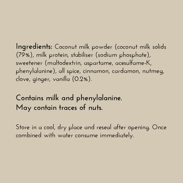 Keto Coconut Chai Latte Ingredients
