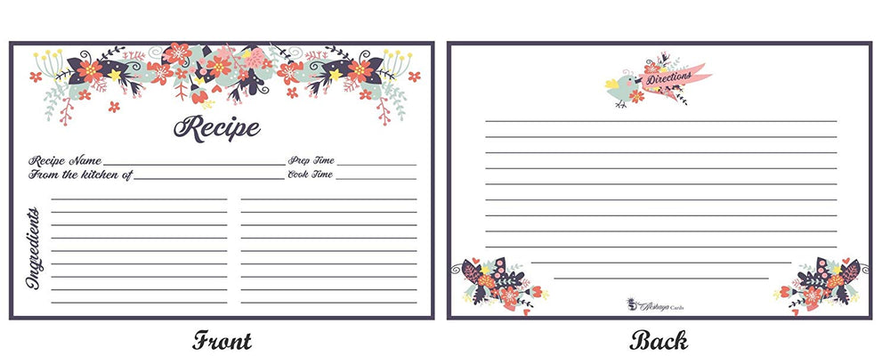 Blue Floral Recipe Cards and Dividers Set