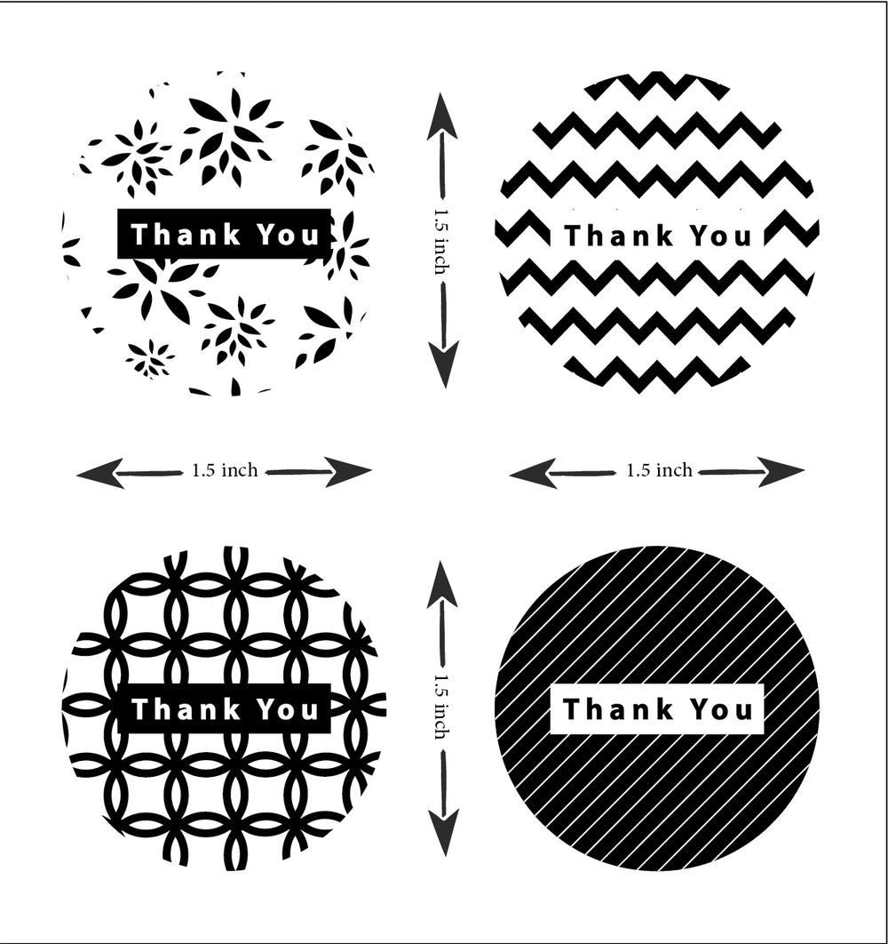 Thank you sticker roll - Black & White  1