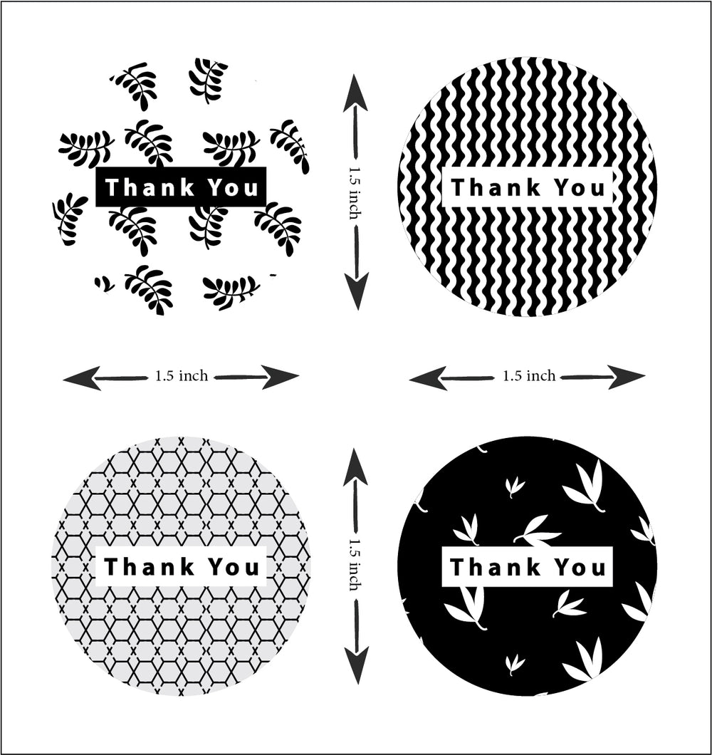 Thank you sticker roll - Black & White 2